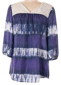Calypso St. Barth for Target Tie Dye Boho Style Purple Tunic Limited Edition Lace Trim Top Purple-Navy-White