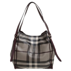 Burberry Canvas Leather Tote in Burgundy