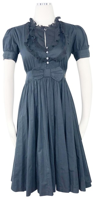Item - Black Ruffle Pleated Fit Flare Puffy Short Sleeve Full Skirt Mid-length Work/Office Dress Size 0 (XS)