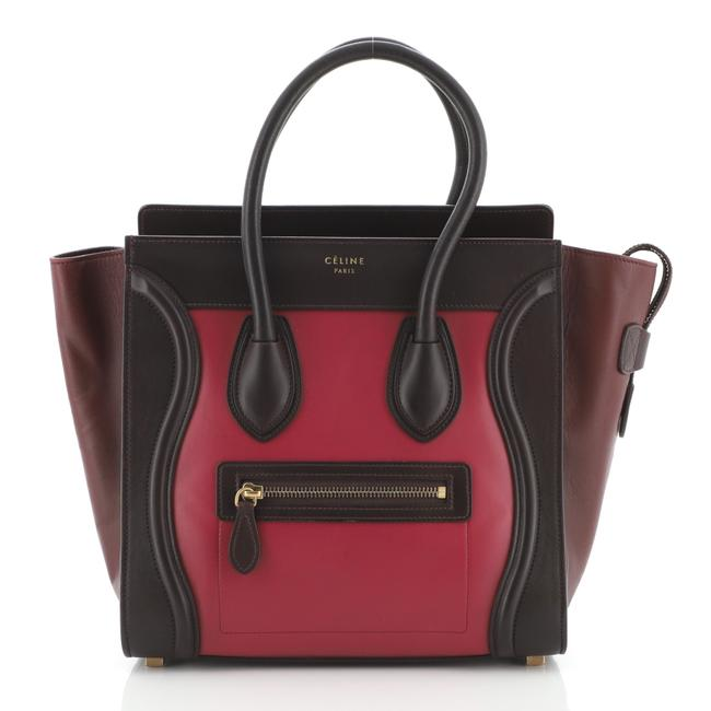 Item - Luggage Tricolor Micro Multicolor Pink Red Leather Shoulder Bag