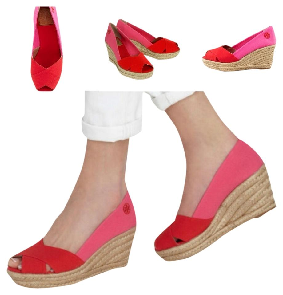 1556f9c41f4 Tory Burch Red and Pink Filipa Espadrille Wedges Size US 7 Regular (M, B)  35% off retail