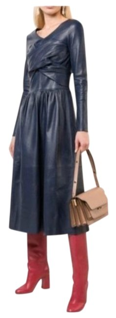 Item - Blue Leather Midi Mid-length Night Out Dress Size 2 (XS)