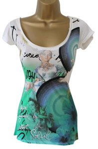 Desigual Edgy T Shirt Greens Blues