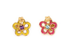 Tous Amethyst & Topaz 18k Yellow Gold Floral Enamel Stud Earrings