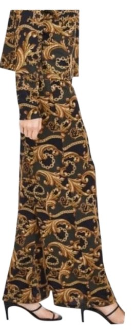 Item - Mustard Light Wash Chain Print Weave S Trouser/Wide Leg Jeans Size 4 (S, 27)