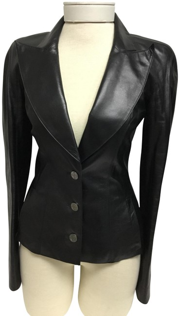 Item - Black Metallic Fitted with Silver Logo Buttons Jacket Size 4 (S)