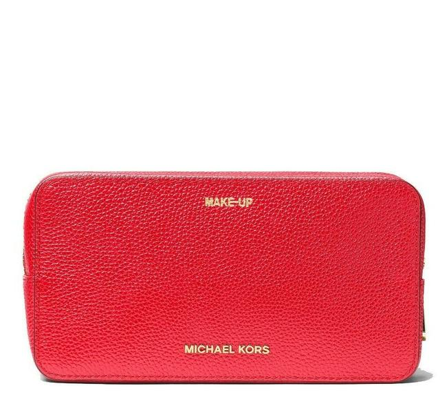 Item - Red Large Jet Set Travel Double Zip Travel Leather Case Pouch Cosmetic Bag