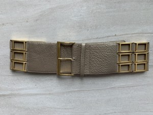 Suzi Roher Gold leather w/ Gold tone square chain embellished stretch panels