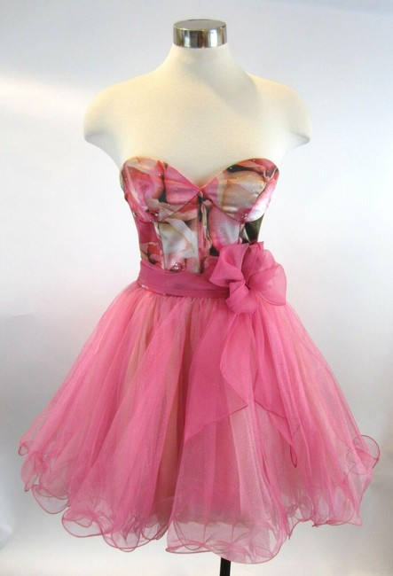 Item - Pink Crystals Corset Floral Tulle Prom Strapless Short Cocktail Dress Size 0 (XS)