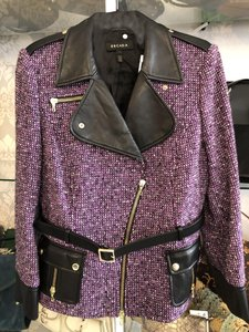 Escada Zipper Tweed Wool Lambskin Purple, Black Leather Jacket