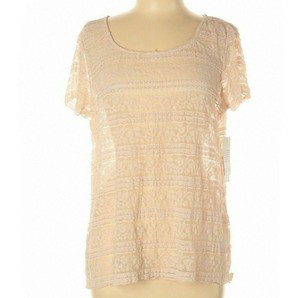 ELLE Embroidered Lace Sheer Top Pink