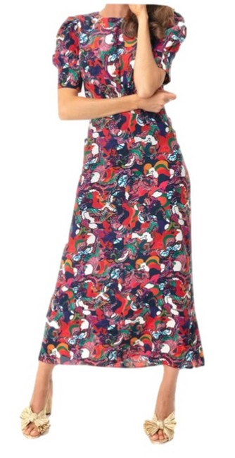 Item - Multicolor Bianca Swirling Clouds Long Cocktail Dress Size 6 (S)