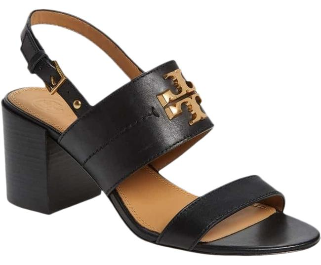 Item - Black / Gold 8.5m Everly 65mm Calf Leather Sandals Size US 8.5 Regular (M, B)