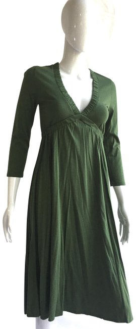 Item - Green Fit and Flare Mid-length Short Casual Dress Size 6 (S)