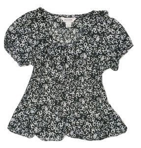 Allison Taylor Renfair Peasant Shirt Ruffle Print Top Black & White