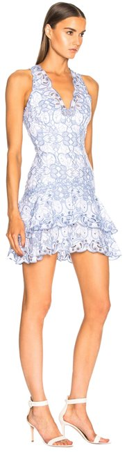 Item - White & Chambray Scallop Cutout Embroidery V Neck Tired Mini Cocktail Dress Size 6 (S)