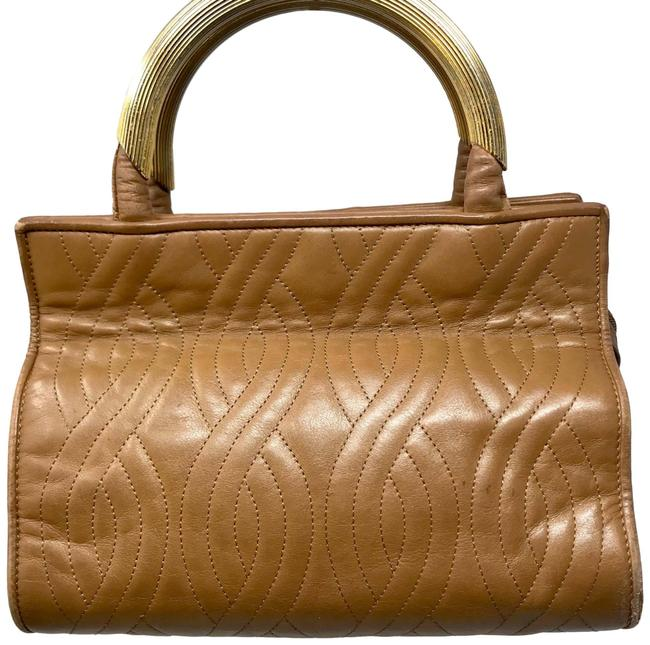 Item - Quilted Art Deco Camel Lambskin Leather Satchel