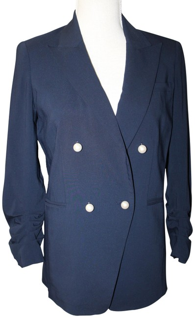 Item - Navy Blue Pearl Button Ruched Sleeve Dickey Jacket Small Blazer Size 4 (S)