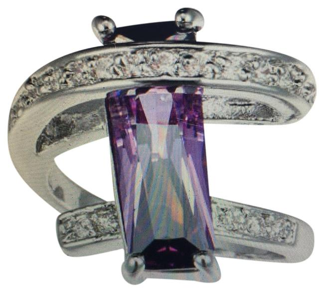 Item - Deep Purple Alexdrite Clear New Amethyst and Crystals Vertical Rectangular Ring