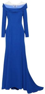 Reem Acra Couture Silk Gown Longsleeve Dress