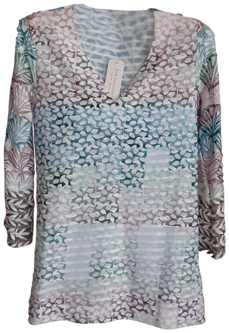 Item - Pink Green Blue White Casual Tunic Size 0 (XS)