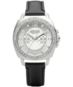 Coach Leather Strap Silver Signature Crystal Dial Womens 14503152
