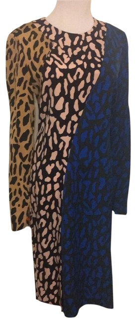 Item - Cream and Black Blue and Black Taupe and Black 10827dvf Mid-length Work/Office Dress Size 4 (S)