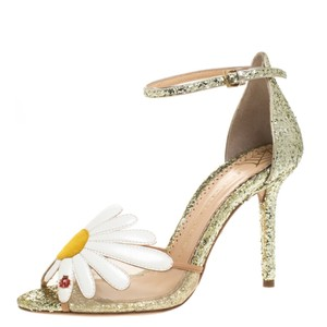 Charlotte Olympia Glitter Leather Ankle Strap Gold Sandals