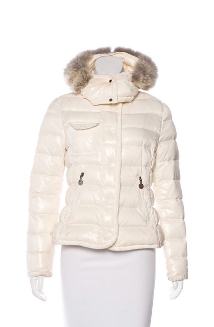 Item - Cream White and Grey Fur Fur-trimmed Armco Coat Size 4 (S)