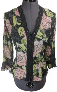 Violet & Claire Sheer Floral Roses Lace Top Black, Pink