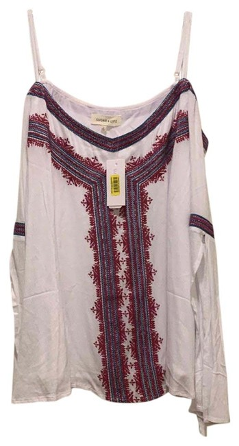 Item - White Blue Red Off The Shoulder Blouse Size 12 (L)