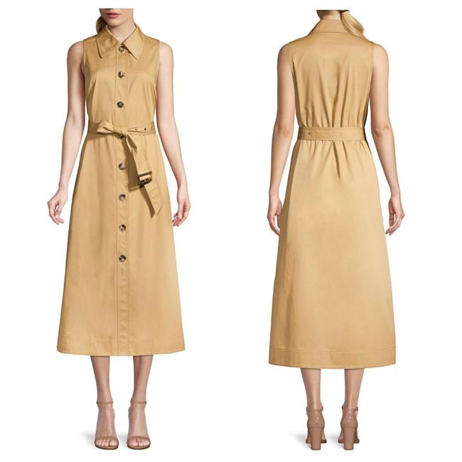 Item - Dark Khaki New Buttoned & Belted Shirtdress Long Cocktail Dress Size 4 (S)