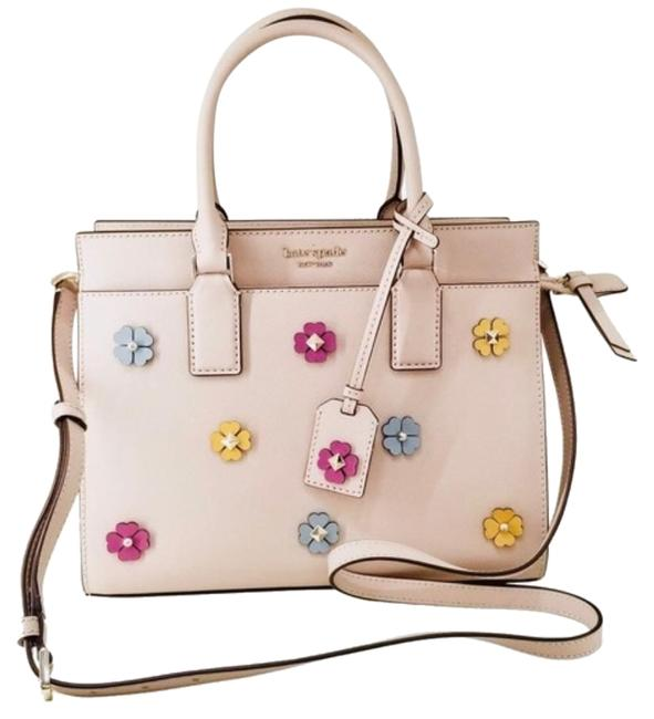 Item - Medium Cameron Flower Applique Warm Beige Leather Satchel