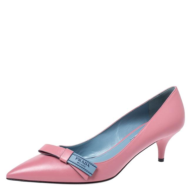 Item - Pink Leather Bow Detail Pointed 39.5 Pumps Size US 9 Regular (M, B)