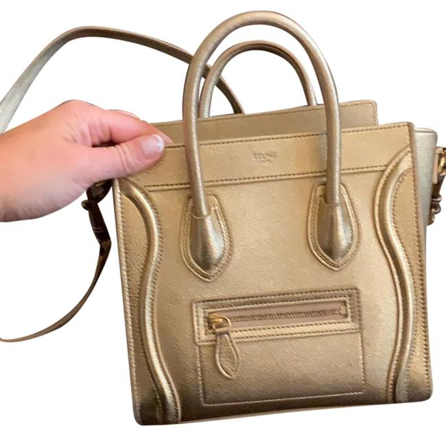 Item - Luggage Nano Gold Lambskin Leather Tote