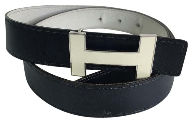 Item - Blue and White Quizz Reversible H Buckle 32mm Navy Leather 90cm Belt
