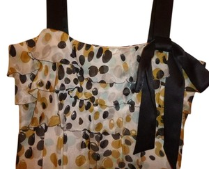 MILLY Silk Top Black, white, and gold pokadots.