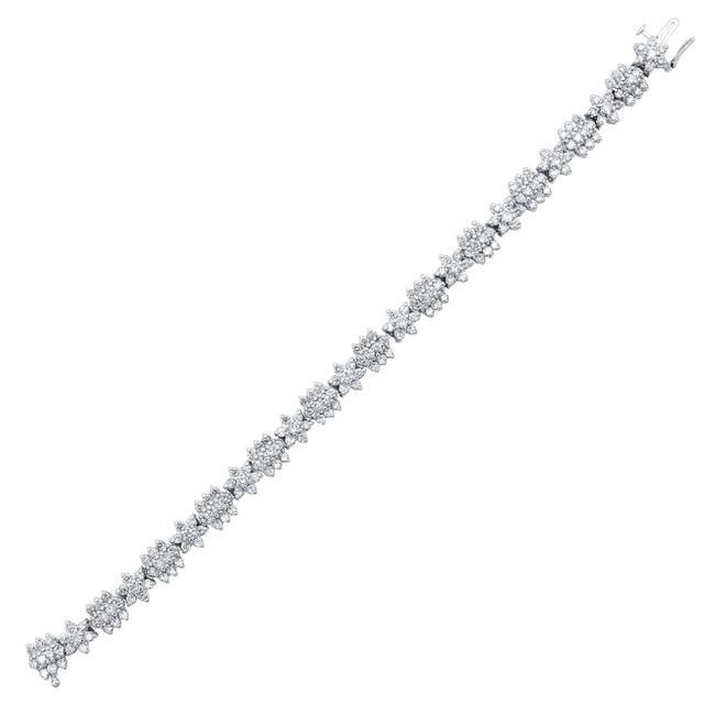 Item - 14k Yellow Gold Rhodium Plated Diamond Floral Design 6.00ct Bracelet