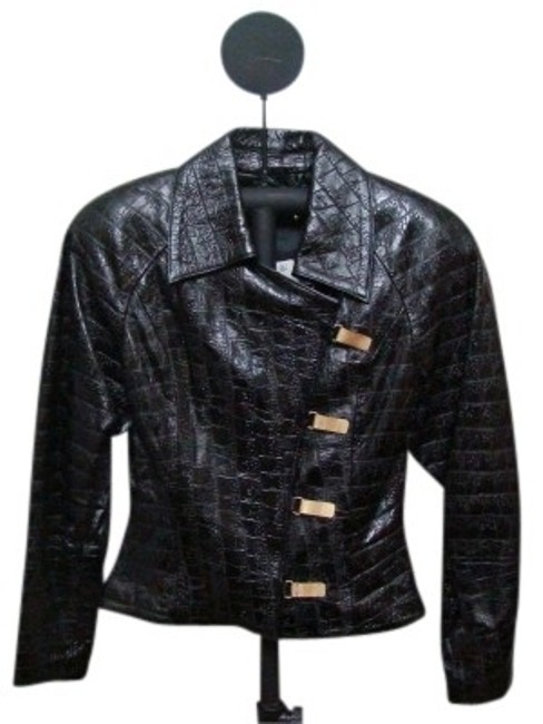 Preload https://img-static.tradesy.com/item/27026/black-metal-snap-front-shinny-leather-jacket-size-4-s-0-0-650-650.jpg