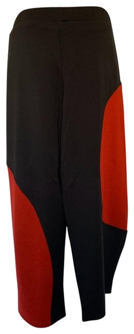 Item - Black Red Rayon Blend Knit Crop Balloon Elastic Waist Pants Size 16 (XL, Plus 0x)