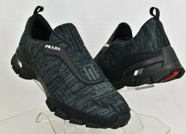 Item - Black 4o3223 Gray Knitted Nylon Leather Logo Slip On Sneakers 7.5 Us 8.5 Shoes