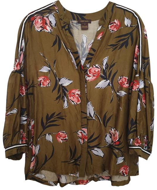 Item - Maize Green Floral Floriana Printed Button Down Blouse Size 6 (S)