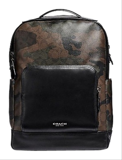 Item - Graham In Signature W/ Camo Print F40652 Multicolor Coated Canvas and Calf Leather Backpack
