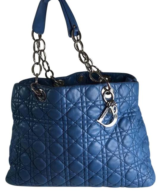 Item - Christian Large Quilted Cannage Blue Lambskin Leather Shoulder Bag
