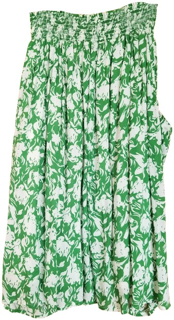 Item - Green and White(Flowers) Skirt Size 4 (S, 27)
