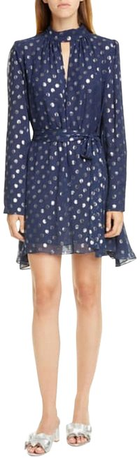 Item - Navy Tania Jacquard Metallic Dot Silk Short Cocktail Dress Size 4 (S)