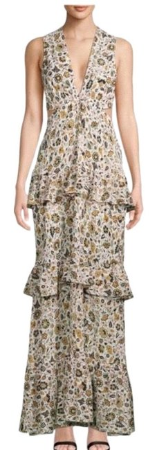 Item - Ivory L Brie Tiered Silk Maxi Paisley Long Formal Dress Size 2 (XS)