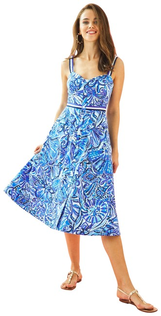 Item - Blue Ellee Midi Mid-length Short Casual Dress Size 6 (S)