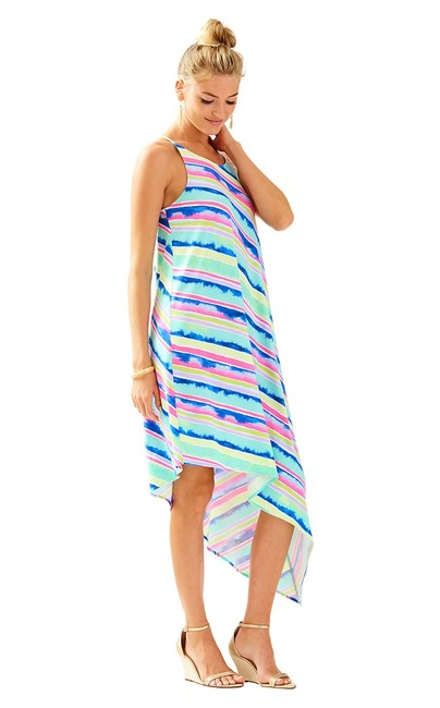 Item - Multi-color Magnolia Assymetrical Midi Mid-length Short Casual Dress Size 2 (XS)
