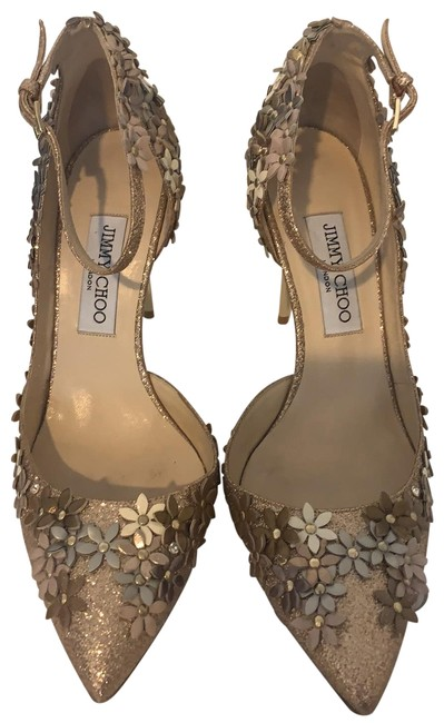 Item - Metallic Gold with Silver White Bronze Nude Flowers Lorelei D'orsay Ankle Strap Heels Pumps Size EU 39 (Approx. US 9) Regular (M, B)